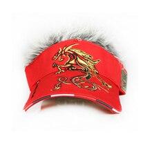 Golf Cap Dragon Fake Hair men Hat wig/hair UV Sun Hat/Cap golf hat baseball cap wholesale2016 new style Free Shipping