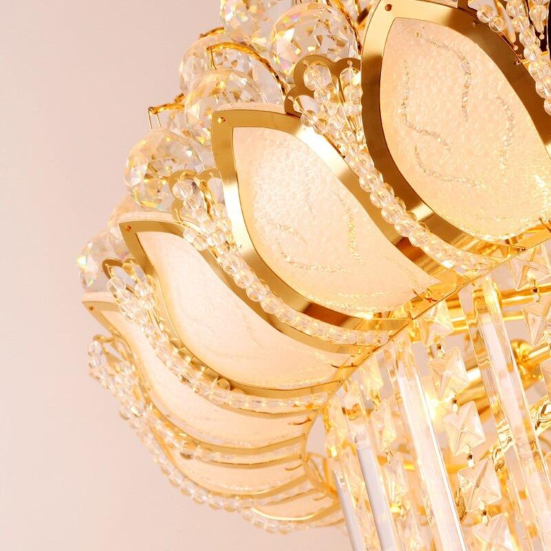 Long Golden Modern Chandeliers American Golden Lotus Flower Chandelier Lights Fixture LED Lamps Hotel Home Indoor Lighting in Chandeliers from Lights Lighting
