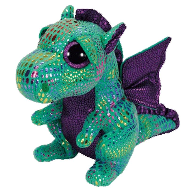 "Ty Beanie Boos Cute Animals Cinder The Green Dragon Plush Toy Doll Christmas Gift 6"" 15cm"
