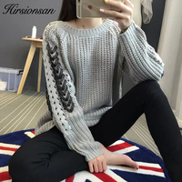 Hirsionsan Pullover And Sweater Women 2017 Winter Ribbon Straps Jumper Autumn Elegant Knitted Casual Loose Knitting