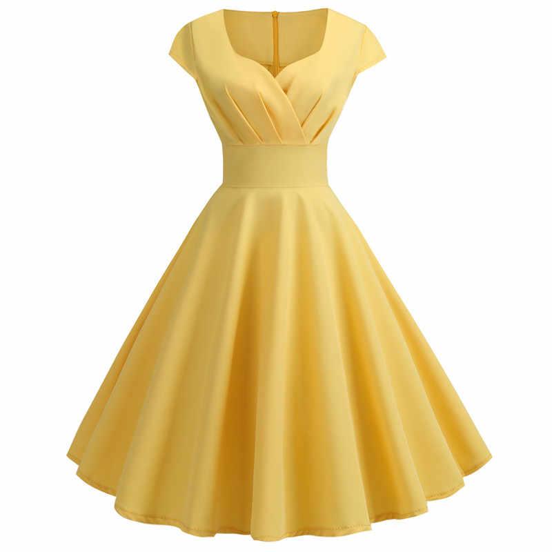 Merah Muda Musim Panas Gaun Wanita 2020 V Leher Ayunan Besar Gaun Vintage Jubah Femme Elegan Retro Pin Up Pesta Kantor Midi gaun Plus Ukuran
