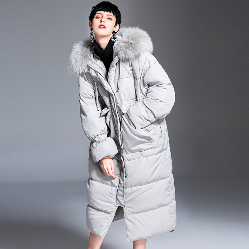 Canard 90 Fourrure Veste De À Long Vers Le Hiver Lapin Duvet Nouvelle Luxe Bas 2018 Grayish Capuchon White Blanc Femmes Down zq4SwA