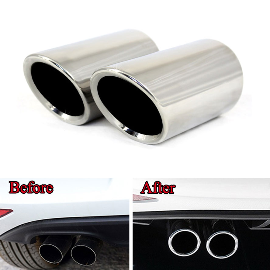 2pcs Stainless Steel Car Rear Exhaust Muffler Tip End Pipe for VW Golf 7 Mk7 2013-2014 Car Styling Car Accessary Chrome Moulding