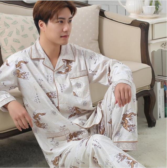 Pijama masculino Pijama homme Dos Homens sleepwear manga Longa Outono 2016 Conjuntos de Pijama