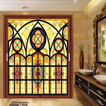 Custom electrostatic Church frosted stained glass window film home foil door stickers PVC self-adhesive films