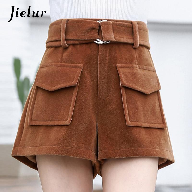 Jielur Winter Korean Fashion Black Woolen   Shorts   Women Casual Loose Wide Leg   Shorts   with High Waist Thick Pockets   Short   Femme