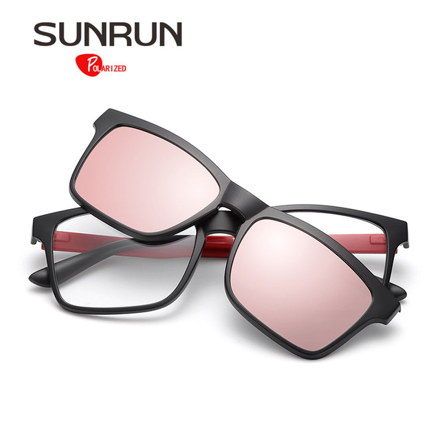 SUNRUN TR90 Women Polarized Sunglasses Men Lens Removable Glasses Vintage Eyewear Optical Frame Women oculos TR2202