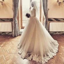 Elegant Long Sleeves Lace font b Hijab b font Wedding Dress Applique Beads High Neck Islamic