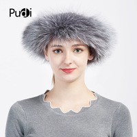 Pudi HF714 The new women winter caps real silver fox fur hair headband 2017 brand new style real fur bands
