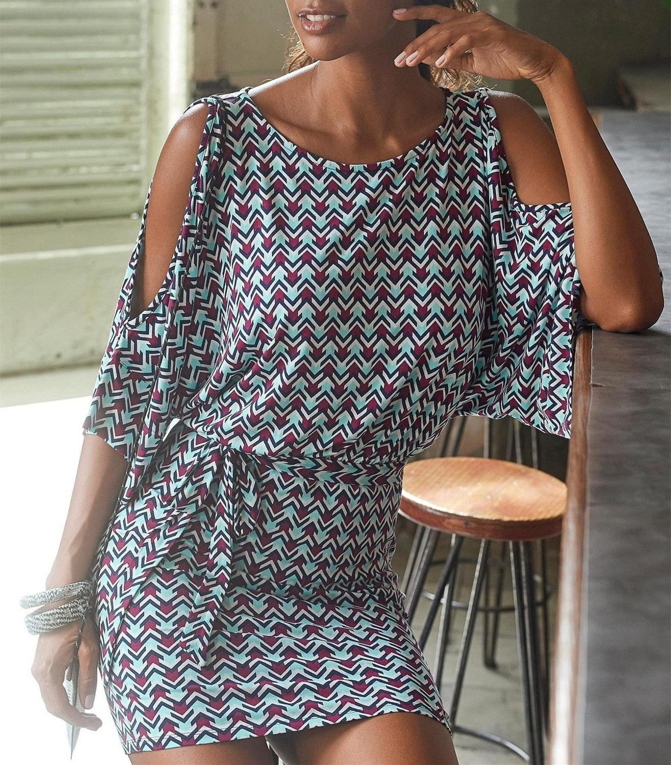Summer Print Casual Dresses Women Beach Style Vestido O-Neck Sashes Batwing Hollow Out Sleeve Sexy Sheath Bodycon Mini Dress