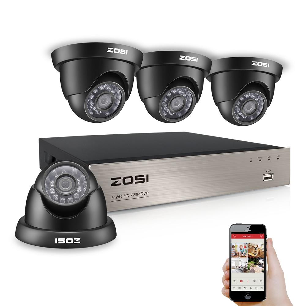 ZOSI HD-TVI 720P DVR 8 Channel CCTV System Video Surveillance DVR KIT with 4PCS 1280TVL 720P Home Security 8ch Camera System hd 8ch cctv system 720p dvr 8pcs 720p 1200tvl ir outdoor video surveillance security camera system 8 channel dvr kit