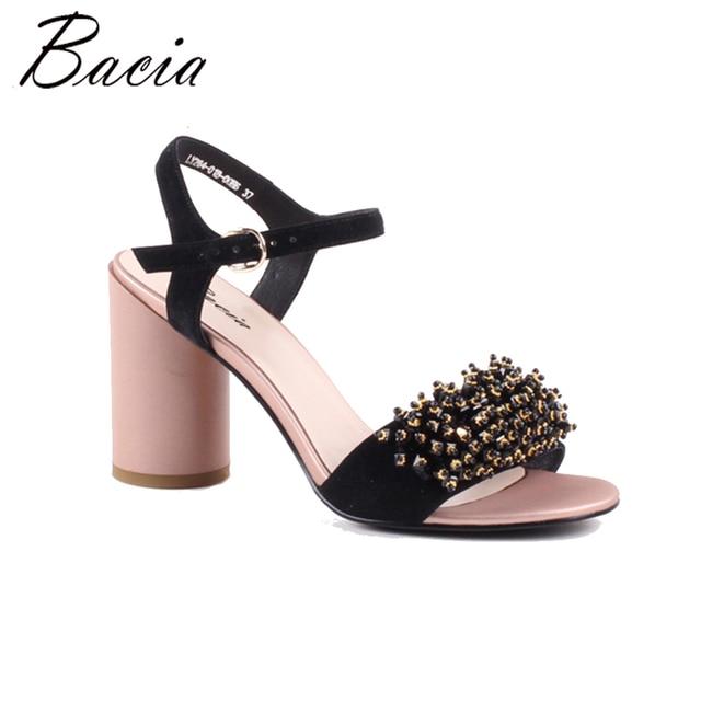 Bacia/босоножки из овечьей кожи 2018 новый необычный стиль каблука Т-образным ремешком сзади женские туфли-лодочки на высоких каблуках кожаные ботинки Размер 35 -41 VWB001