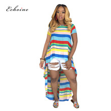 Echoine Casual O-Neck Loose Dress Women Colorblock Multicolor Casual Striped Print Asymmetrical Hem Summer Spring Street Outfits plus chevron print colorblock dress