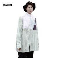 2017 Autumn New Men Printing Splice Stripe Shirt Big Size Loose Long Sleeve Fashion Casual Shirt