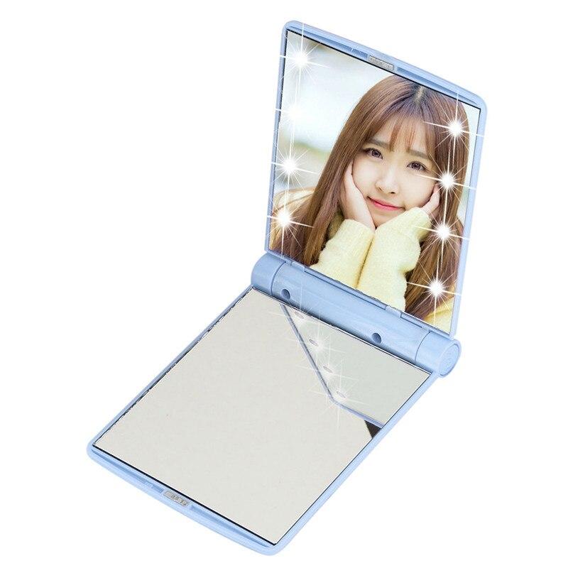 Spiegel EntrüCkung Neue 2018 Heißer Schönheit Kosmetische Folding Tragbaren Compact Tasche Spiegel Mit 8 Led-leuchten Lampen Himmel Blau #8 Heller Glanz