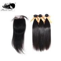 MOCHA Hair Brazilian Straight Virgin Hair 3 Bundles With One 4* 4 Lace Closure 100% Human Hair Free shipping