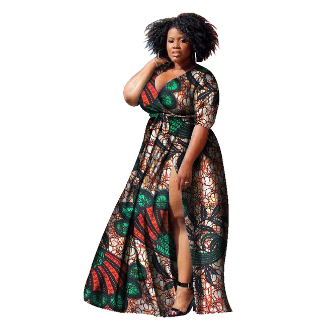 2019 New African Dresses for Women Print Wax Bazin Plus Size African Style  Clothing Dashiki Deep Women African Clothing