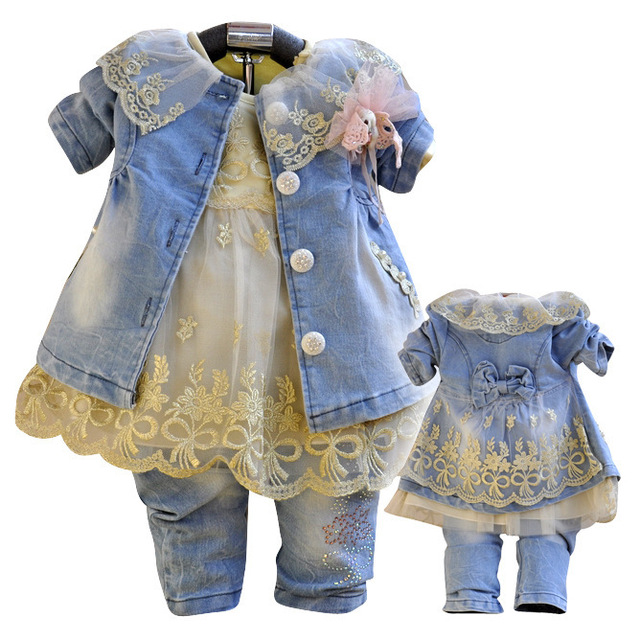 Anlencool envío gratis 2017 baby dress set de alta calidad de clase niñas de mezclilla ropa de La Muchacha de Vaquero traje de tres piezas y falda