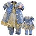 Anlencool frete grátis 2017 baby dress set de alta qualidade da classe denim meninas roupas Da Menina Cowboy terno de três peças e saia