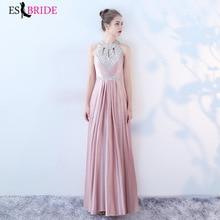 Women Elegant Shiny Bead Piece Halter Collar Long Evening Dresses Formal Lace Fashion Party Plus Size ES1437