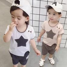 цена на Kids Boy Clothes Set 2019 Summer Baby Short Sleeve Lovely Five Star T-shirt+Shorts Casual Boys Outfit Set Children Sport Suit