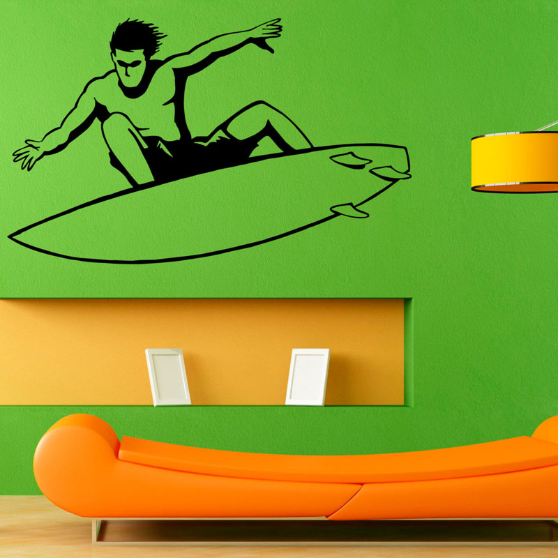 ZOOYOO Surfing Sports Wall Stickers Vinyl Art Wall Decals Home Decor Removable Living Room Boys Rooms Decoration