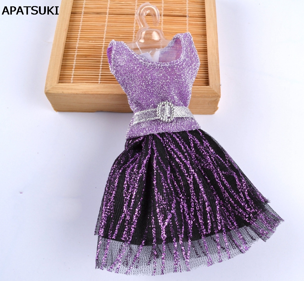 Casual Doll Clothes One Piece Patchwork Purple Glitter Short Dress For Barbie Dolls For 1/6 BJD Doll House Doll Accessories|dresses embroidered|dress up fashion dolldolls artists - AliExpress