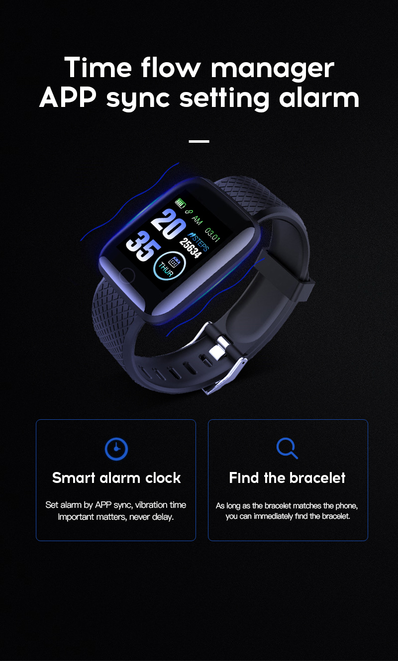 LYKRY 116 plus Smart Bracelet Fitness Tracker Heart Rate Blood Pressure Monitor Smart Band IP67 Waterproof Sports For Android IOS+Box (18)