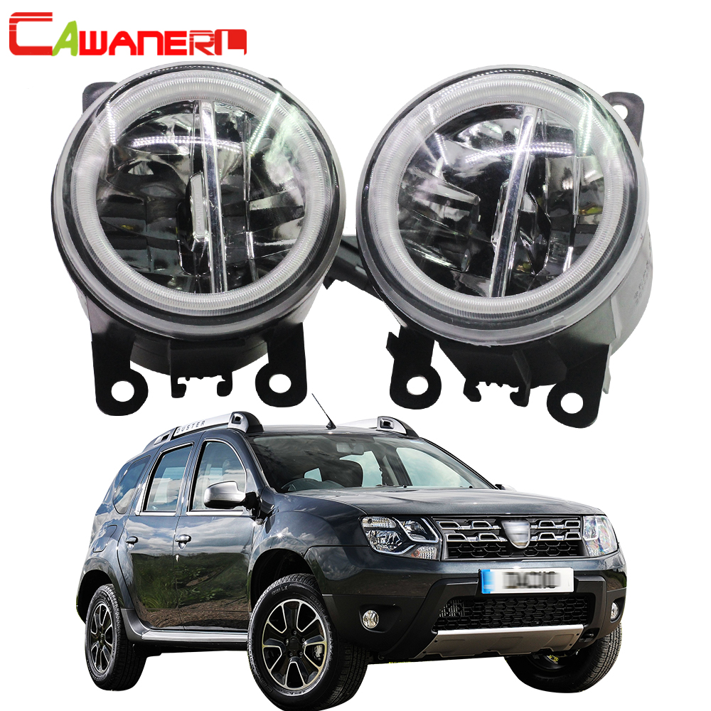 Cawanerl For Dacia <font><b>Duster</b></font> Closed Off-Road Vehicle 2010-2015 Car Accessories 4000LM <font><b>LED</b></font> Bulb Fog Light + Angel Eye DRL 2 Pieces image