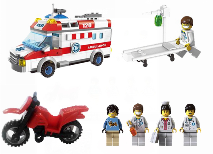 Enlighten City Rescue Emergency Ambulance Plastic Motorcycle Building Blocks Kids Gifts Minifigure Sets Compatible With Lego