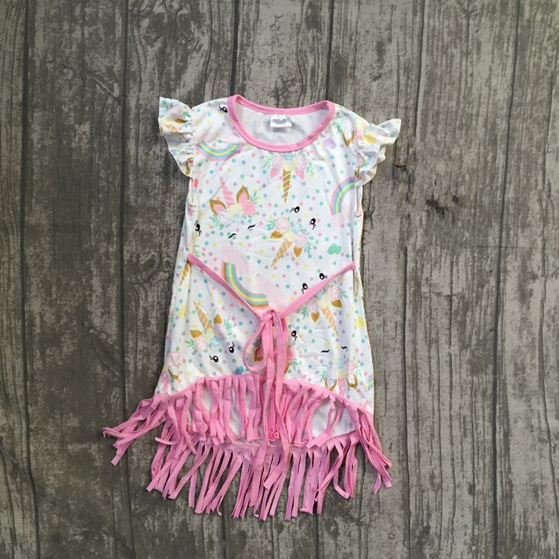 baby girls summer dress clothing girls unicorn dress children tassel dress children girls summer milk silk tassel soft dress