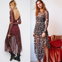 2017 Women S Dress Brand Irregular Lace Long Dress Women Leopard Print Bohemia Maxi Dress Two