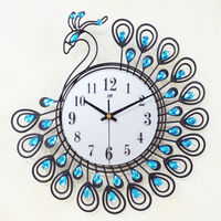 Luxury Gold Blue Crystal Metal Peacock Wall Clock Fashion Silent Wall Watch Unique Gift Home Decor