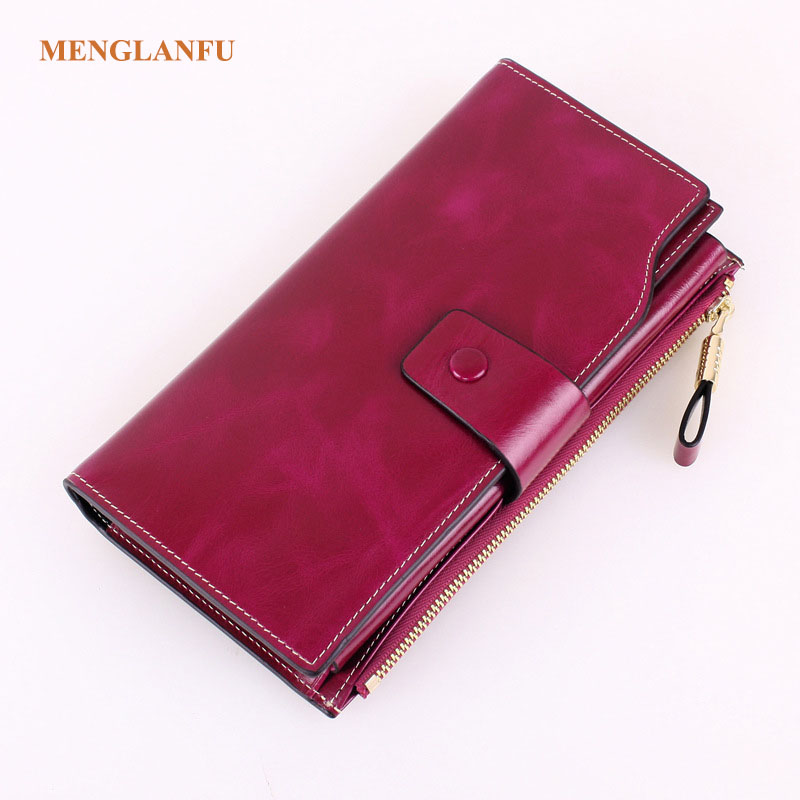 2018 New Design Genuine Leather oil wax Wallets Long Purse Women Solid Card Holder Cash Purse Girls Vintage mutil card wallet allen roth brinkley handsome oil rubbed bronze metal toothbrush holder