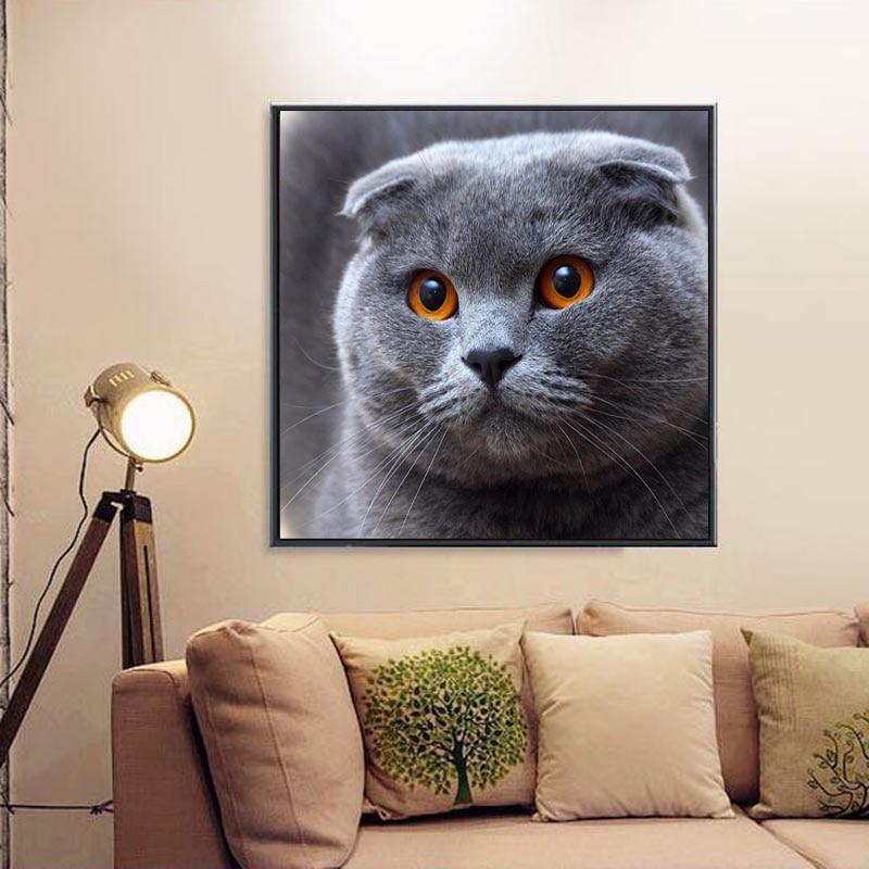 5D Diy Diamond Painting Cross Cube Stitch  Home Cat Diamond Embroidery Canvas Decor Painting Home Decor @ DC112