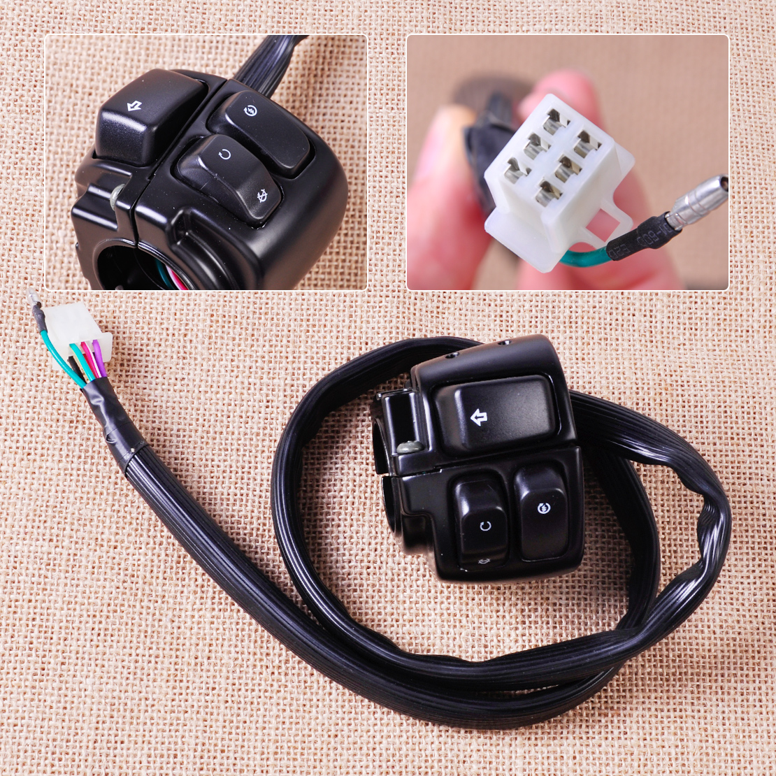citall motorcycle 1 handlebar ignition turn signal switch wiring harness for harley softail dyna sportster [ 1110 x 1110 Pixel ]