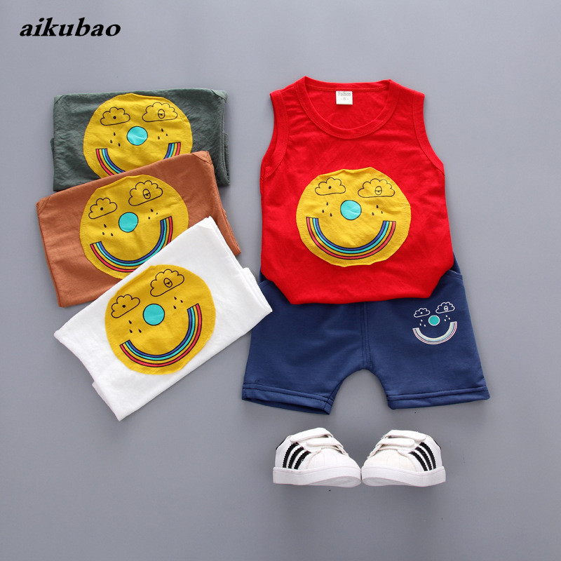 baby children products 2018 new baby boys clothes sets vest + pants 2 pieces boys baby cothes sets 0-5T baby summer clothing