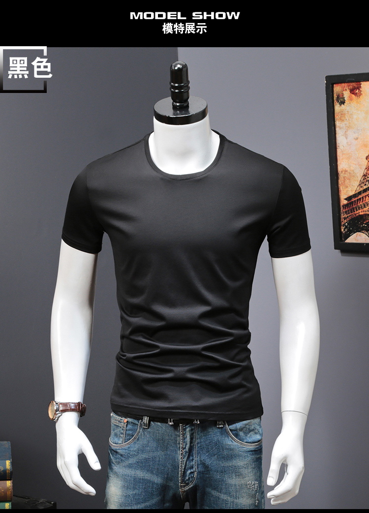 T-shirts Solid Color Man Casual camiseta homme t shirts Male Top Tees Summer (1)