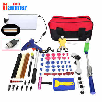 Paintless Hail Repair Dent Puller Lifter PDR KING Tools T Bar Damage Removal Glue Kit led lamp