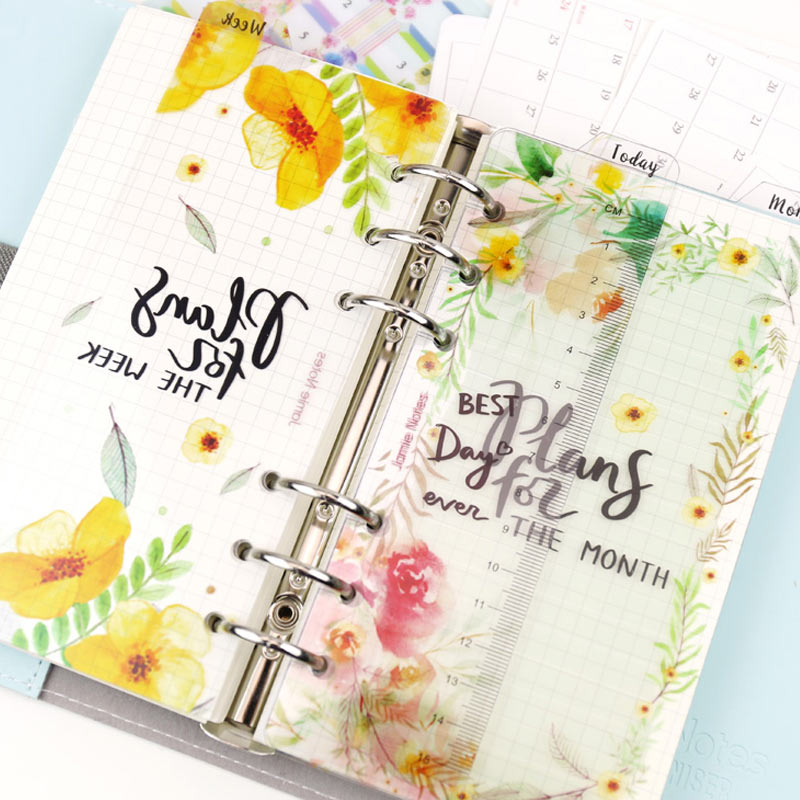 Yiwi Week Month Today Ruler A5 A6  PP Matt Frosted Planner Agenda Dokibook For 6 Holes Loose Leaf Spiral Notebook Organizer