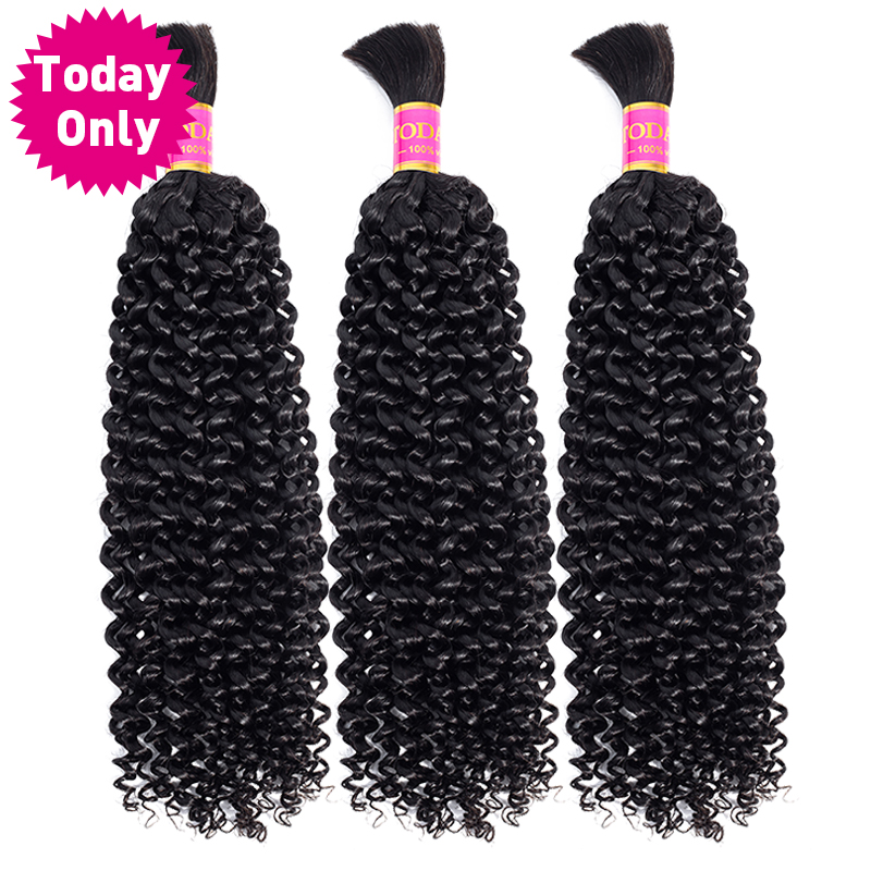 TODAY ONLY Malaysian Curly Hair 3 Bundles Human Braiding Hair Bulk No Weft Kinky Curly Human Hair Bundles Remy Hair Extensions