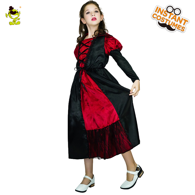 Girls Medieval Vampire Costumes Scary Queen Role Play Fancy Dress Clothing Girls Dance Dress For Masquerade Halloween Party