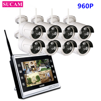 SUCAM 8CH 12 Inch LCD Screen NVR Wireless Surveillance System 8PCS 960P IP Camera Wifi Outdoor