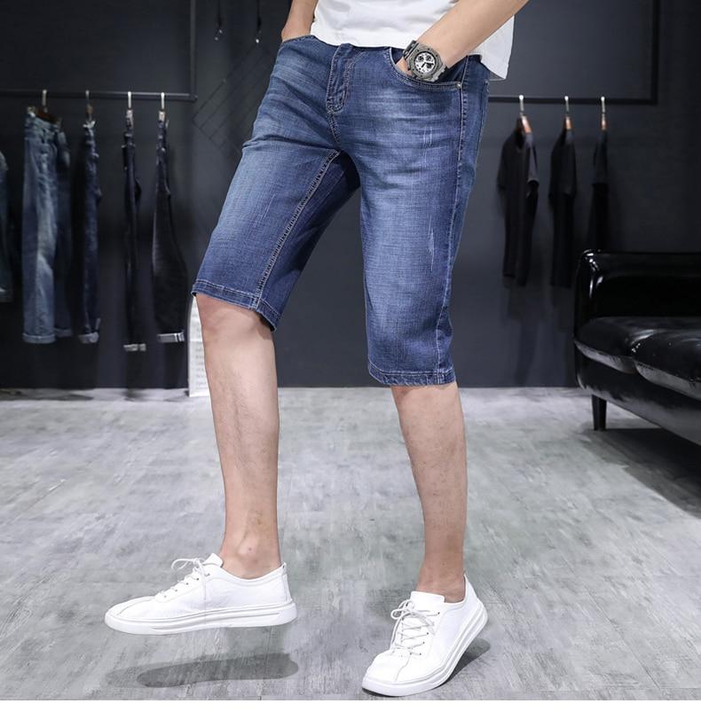 KSTUN Jeans for Men Summer Denim Short Pants Light Blue Elasticity Ultrathin Slim Fit Men's Clothes Man Jeans Brand 2018  Homme 15