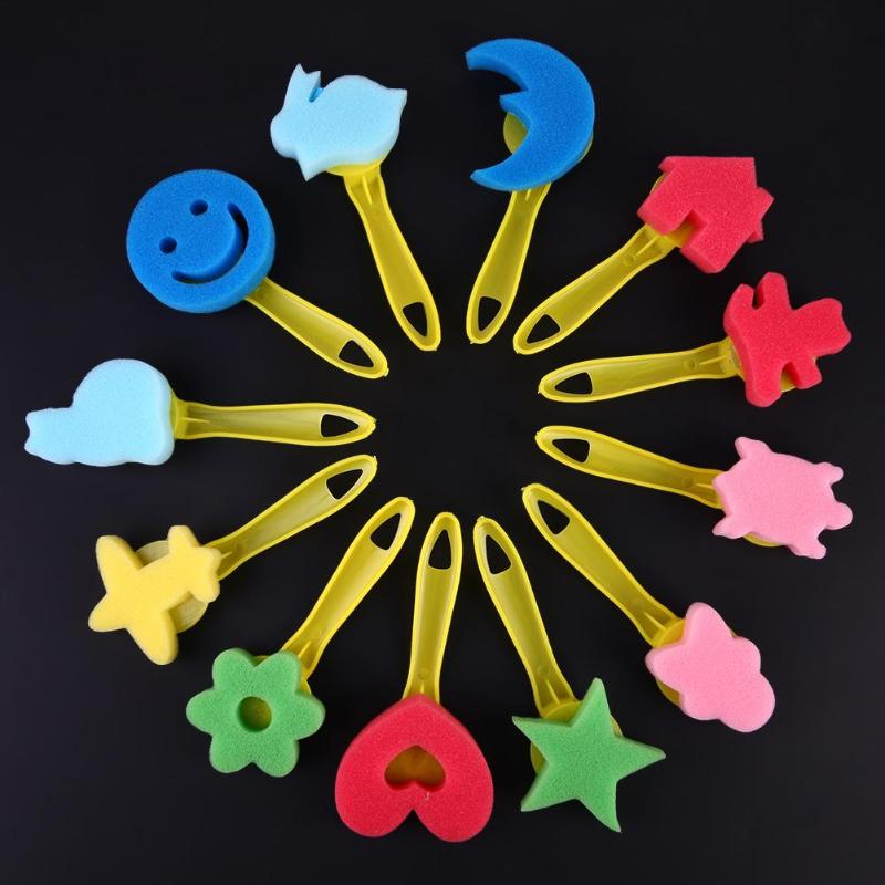 12pcs/set DIY Children Painting Sponge Mixed Pattern Colored Plastic Handle Brushes Kids Graffiti Toys Drawing Art Supplies