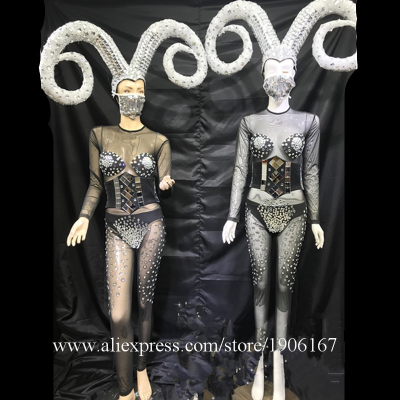 Ballroom dance stage show costumes dj party singer dresses horn silver mirror outfit clothes vest model bikini performance1
