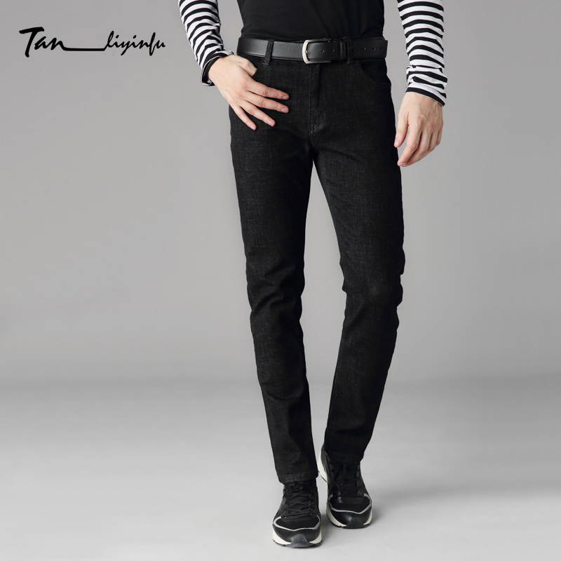 Tanliyinfu spring new high quality men's black embroidered jeans 98% cotton 2% spandex button zipper decoration