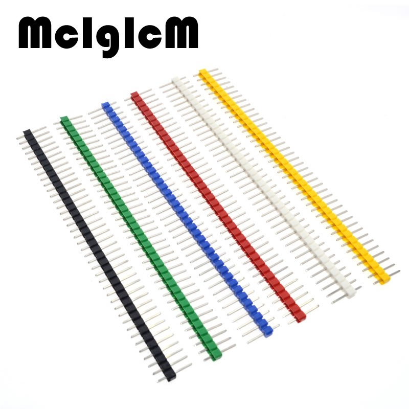 30pcs Pin Connector Male 2.54mm Pitch Pin Header Strip Single Row 40 pin Connector Kit for PCB board (6 Colors Each 5pcs)