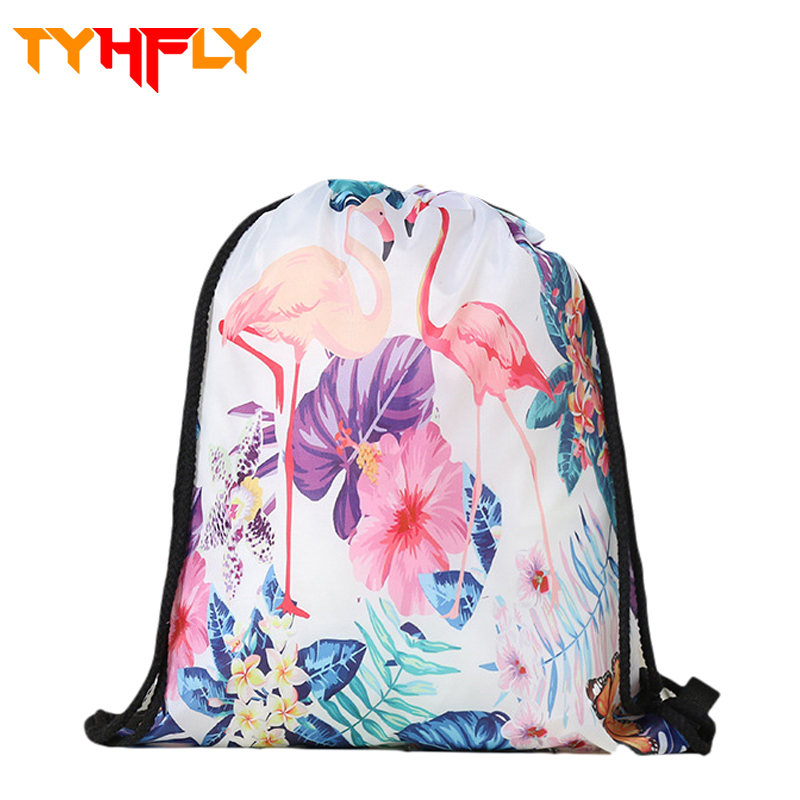 Small 3D Printing flamingo bag Cloth drawstring bags flamingo backpack pouch drawstring makeup School soccer bolso for women P40