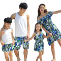 High quality Summer Family Matching outfits Casual Flower mother and daughter dresses girls Vest Dress father son set clothes